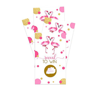 Flamingo Scratch Off Cards (30 Pack) Bridal Shower Games - Girls Baby Shower - Summer Events - Prize Drawings – Raffle Tickets – Pink Tropical Aloha Parties