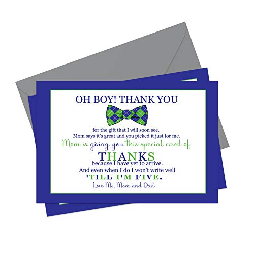 Bow Tie Baby Thank You Cards (15 Pack) Oh Boy Shower Stationery Set with Envelopes - Little Man - Neat Stripes - Blue and Green - A6 Flat Notes