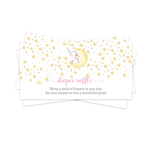 Starry Pink Elephant Diaper Raffle Ticket (25 Cards) Baby Shower Games – Invitation Inserts – Drawings for Sprinkle Activity – Girls Star and Moon