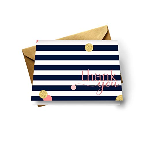 Mod Thank You Cards (20 Pack) Wedding – Bridal Shower – Baby Shower – Birthday - Graduation – Stripe and Dot Navy, Coral Style - Everyday Folded Stationery Set with Gold Envelopes