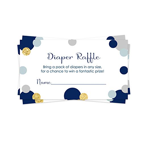 Abstract Navy and Gold Diaper Raffle Ticket (25 Cards) Baby Shower Games – Invitation Inserts – Drawings for Sprinkle Activity – Boys - Twinkle Little Star - Royal Prince