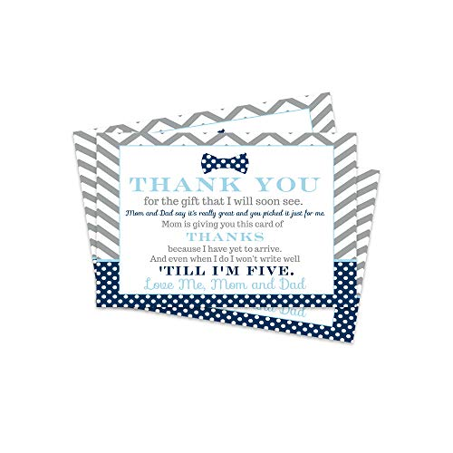 Bow Tie Baby Shower Thank You Postcard (15 Pack) Cards Only, Eco-Friendly - Little Man Shower Theme - Blue and Grey