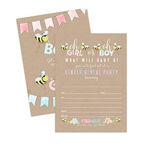 Baby Bee Gender Reveal Party Invitations (25 Cards) Cute Bumblebee Theme - Pink or Blue - Baby Shower – Surprise Sprinkle - Fill in Blank Style Invite Cards and Envelope Set DIY