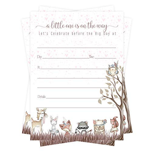 Woodland Friends Baby Shower Invitations (15 Guests) Girls Boho Floral Forest Animal Style – Pink Party Supplies – Fill in Blank Style Invite Cards and Envelope Set DIY