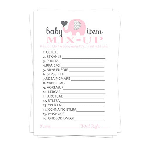 Pink Elephant Baby Shower Word Scramble Game Card (25 Pack) Unscramble - Babble - Jumble - Mix Up – Girls Little Peanut Theme Ideas – Sprinkle Activities