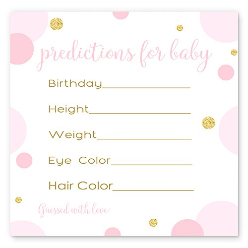 Pink and Gold Predictions for Girls Baby Shower Games (15 Pack)