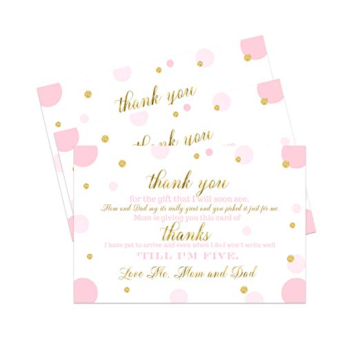 Pink and Gold Baby Thank You Postcard (15 Pack) Girls Little Princess Shower Theme - Twinkle Little Star Ideas - A6 Note Cards Only, Eco-Friendly
