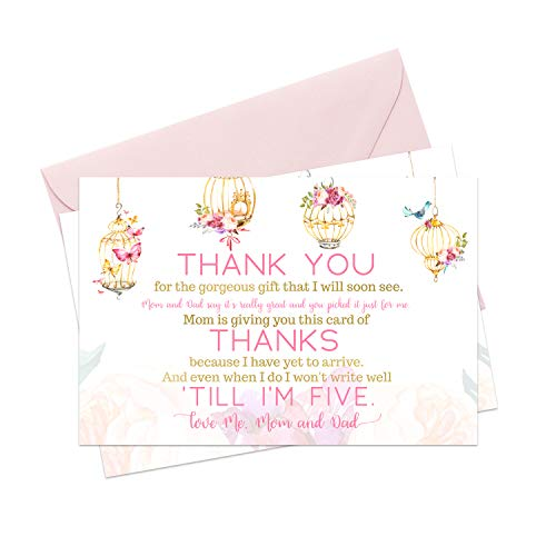 Fancy Baby Shower Thank You Cards (15 Pack) Girls Pink Rustic Woodland Floral - A6 Flat Notecards - Babies Stationery Set with Envelopes