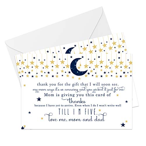 Twinkle Twinkle Little Star Baby Shower Thank You Cards and Envelopes (25 Pack) Boys - Navy and Gold - Babies Stationery Set