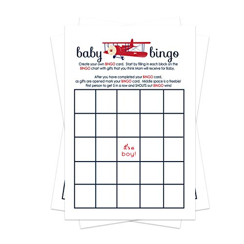 Paper Clever Party Airplane Baby Shower Bingo Game Pack (25 Cards) Guests Fill-In Blanks - Red, White and Blue