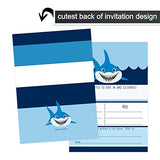 Shark Party Invitations (15 Pack) Jaws Birthday - Sea Baby Shower Supplies - Kids Beach Event - Blue and White - Fill in Blank Style Invite Cards and Envelope Set DIY