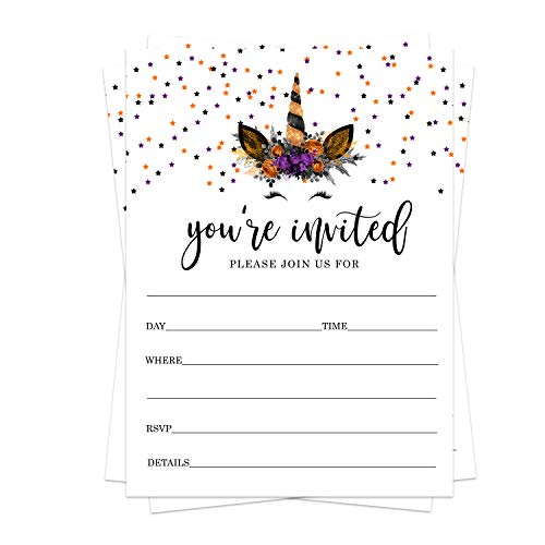 Unicorn Halloween Invitations and Envelopes (25 Cards) Kids Birthday - Baby Shower - Party Supplies Orange and Black – Fill in Blank Invite Set DIY