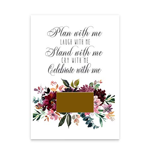 Shabby Floral Be My Bridesmaid Scratch Off Cards (7 Pack) with Maid of Honor and Matron - Stand with Me - Asking Best Friends - Can't Without You - Bridal Proposal Invite Set and Gold Envelopes