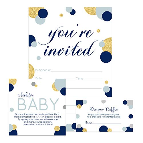 Navy and Gold Baby Shower Invitation Bundle (25 Guests) Fill-in Blank Invite Boys - Diaper Raffle Tickets - Book Request Cards - White Envelopes - Set Includes 25 Each