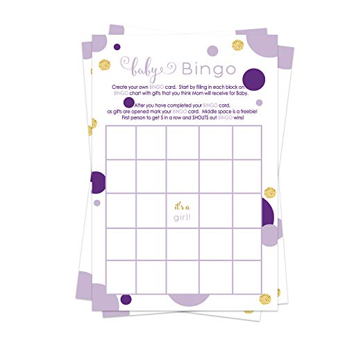 Purple and Gold Baby Shower Bingo Game Pack (25 Cards) Guests Fill-In Blanks with Gifts Guesses - Girls Sprinkle Activities – Little Mermiad - Royal Princess