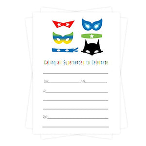 Superhero Party Invitations (15 Guests) Boys Birthday - Superheroes Baby Shower - Mask and Cape Themed Supplies – Any Event - Fill in Blank Style Invite Cards and Envelope Set DIY