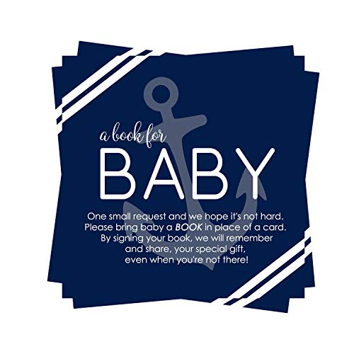 Nautical Book Request Cards for Baby Shower (25 Pack) Ahoy Boy Invitation Inserts - Games - Supplies - Anchors Away Sprinkles – Navy and White