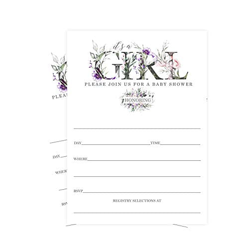 Greenery Baby Shower Invitations (25 Cards) Girls Lilac Floral Style - Fill In Blank Invites and Envelope Set - Sprinkle, Tea, Sip and See