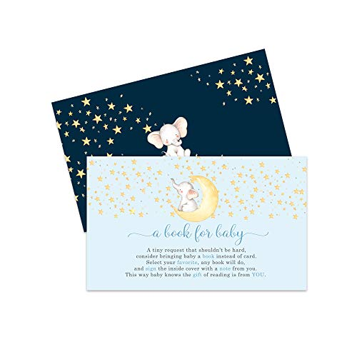 Blue Starry Elephant Book for Baby Shower (25 Pack) Instead of Card Invitation Insert - Raffle Game Idea – Oh Boy – Cute Little Peanut Party Supplies – Sprinkles