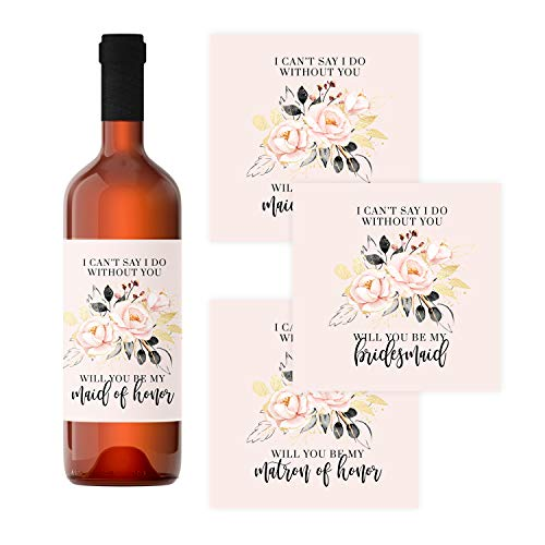 Rose Gold Bridesmaid Wine Bottle Labels (12 Pack) Be my Maid of Honor, Matron of Honor – Asking Wedding Party Proposal Stickers – Bridal Attendant Gift Box Ideas - Modern Floral