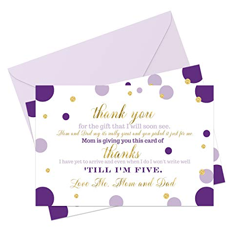 Purple and Gold Baby Shower Thank You Cards and Envelopes (15 Pack) - Girls Little Mermaid - Royal Princess - A6 Flat Notecard Stationery Set