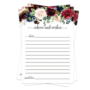 Indigo Floral Advice Cards (25 Pack) Bridal Shower Games - Baby Shower Wishes - Rustic Wedding – Graduation Party - Wishing Well - Retirement - Engagement - Time Capsule – Navy, Wine and Blush