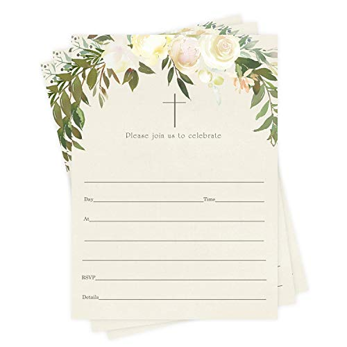 Greenery Baptism Invitations (25 Pack) Fill in Blank Cards for Christening Naming Ceremony Dedication Kids Confirmation Teen Communion Adults Celebration Invite and Envelope Set DIY