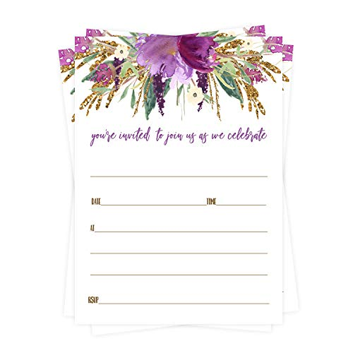 Purple Floral Party Invitations (25 Cards) Bridal Shower, Engagement, Rehearsal Dinner, Baby Shower, Sweet 16, Graduation - Blank Invites and Envelope Set for Any Event Details