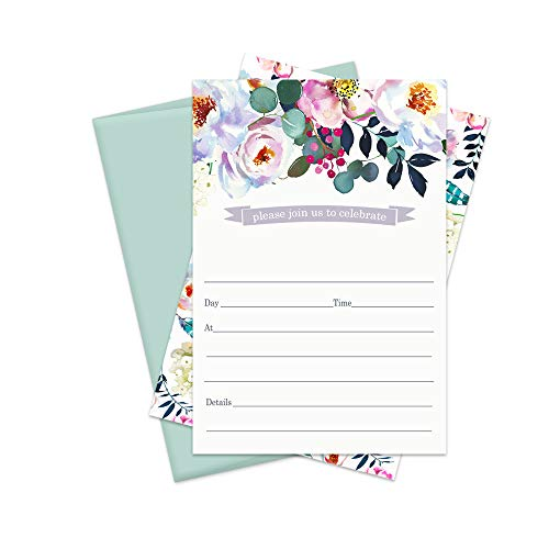 Bright Floral Invitation Cards (15 Pack) Bridal Shower - Housewarming - Baby Girls Shower - Engagement - Birthday - Graduation - Bohemian Party Supplies - Any Event - Fill in Invite and Envelope Set