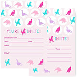 Pink Dinosaur Party Invitations (15 Guests) Girls Birthday - Baby Shower – T-Rex Dino – Cute Colorful Style - Any Event – Fill in Blank Invite Cards and Envelope Set DIY