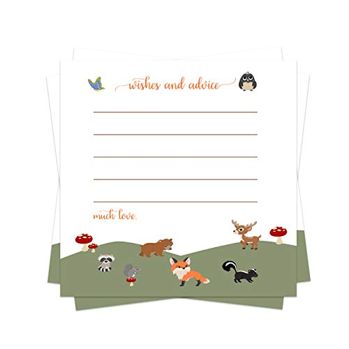 Woodland Advice Cards (25 Pack) Boys or Girl - Baby Shower Games - Well Wishes - Kids Birthday Time Capsule Ideas – Cute Little Forest Animal Party Supplies