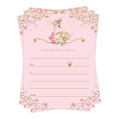 Swan Princess Invitations (25 Pack) for Baby Shower – Birthday Party – Cute Little Girls Pink and Gold Flower Party Supplies - Fill in Invite Card and Envelope Set