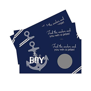 Paper Clever Party Nautical Baby Shower Scratch Off Game Cards (28 Pack) Raffle Tickets – Drawing for Prizes - Ahoy Oh Boy – Anchor Sprinkle – Reveal and Win