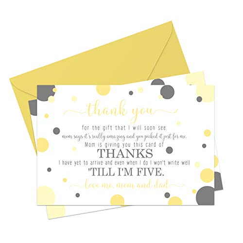 Yellow and Gray Baby Shower Thank You Cards and Envelopes (15 Pack) Mama to Bee Stationery Set - Neutral Boy or Girl - Gender Reveal - A6 Flat Style Notecards