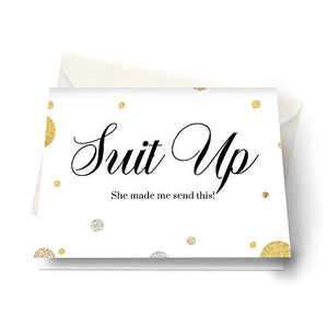 Suit Up Groomsmen Cards (6 Pack) Unique Ways to Ask My Best Man - Ushers - Father of Bride - Wingman - Ring Bearer - Wedding Attendandts Proposal Invites Set with White Envelopes