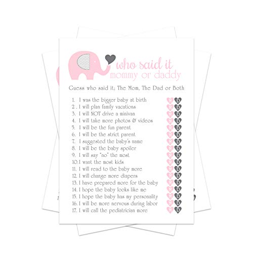 Pink Elephant Baby Shower Game Pack - Mommy or Daddy (25 Cards) – Guess Which Parent Said It Trivia – Girls Little Peanut – Royal Princess – Sprinkle Activities – Favors