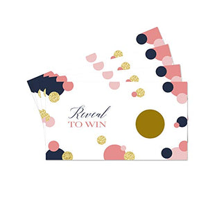 Navy and Coral Scratch Off Game Cards (28 Pack) Weddings, Baby Shower, Gender Reveal Party, Graduation, Diaper Raffle Tickets, Fun Guest Giveaway