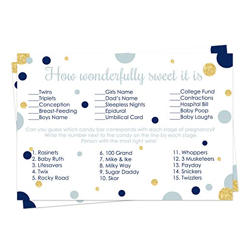 Paper Clever Party Navy and Gold Baby Shower Candy Game Pack (25 Cards) - Guess The Stages of Pregnancy and Parenthood – Funny How Sweet - Boys Sprinkle Activity – Twinkle Little Star - Royal Prince