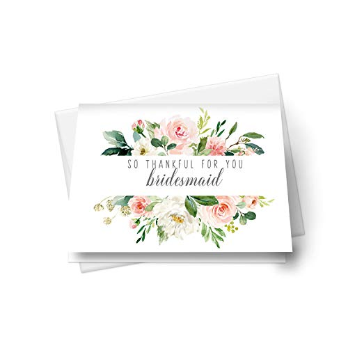 Graceful Bridesmaid Thank You Cards (12 Pack) Complete Set Includes Maid of Honor, Matron of Honor - Folded Style - Greenery Floral