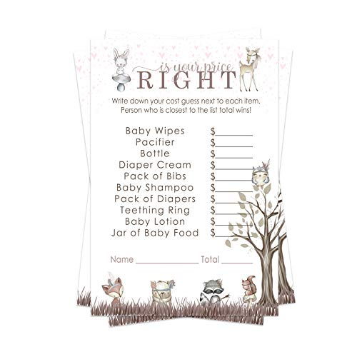 Woodland Friends Guess the Price Baby Shower Game Pack (25 Cards) Fun Activity for Sprinkle - Cute Little Forest Friends - Pink Boho Floral
