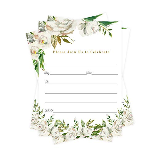 Emerald Floral Party Invitations (25 Guests) Bridal Shower – Graduation – Wedding – Greenery Baby Shower – Tropical Birthday - Any Event – Fill In Blank Style Invite Cards and Envelope Set DIY