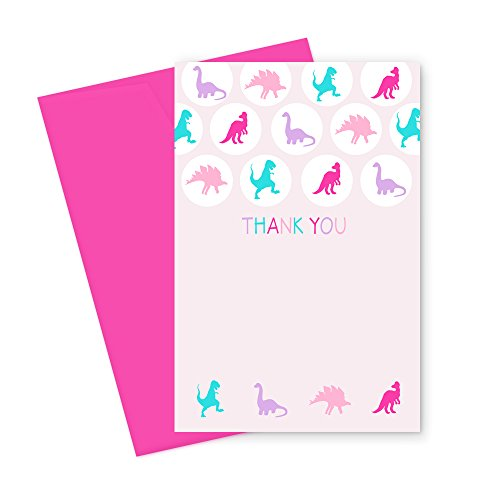 Pink Dinosaur Thank You Cards and Envelopes (15 Pack) Kid's Birthday Party Stationery Set