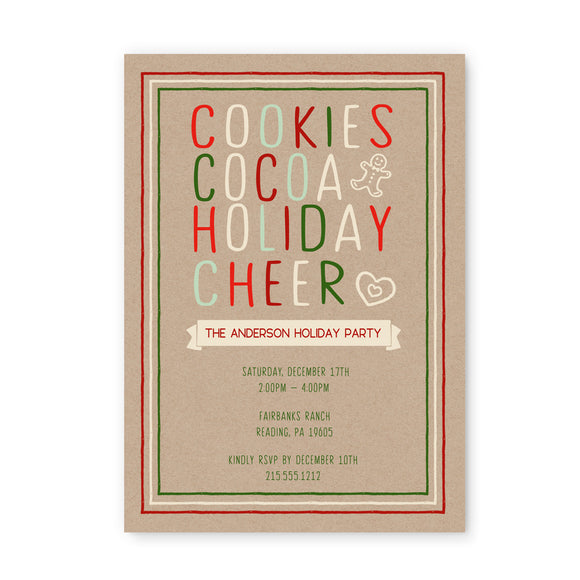 Cookie Swap Holiday Party Invitations and Envelope Set