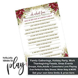Rustic Christmas Trivia Party Game Cards (25 Pack) Holiday Guessing Activity - Adults, Kids, Groups, Family, Friends, Coworkers - Annual Festive Events - Red and Gold - Version 2