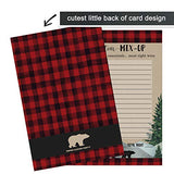 Lumberjack Baby Shower Word Scramble Game Cards (25 Pack) Unscramble Activity - Boys Little Bear Rustic Woodland Red and Black Plaid