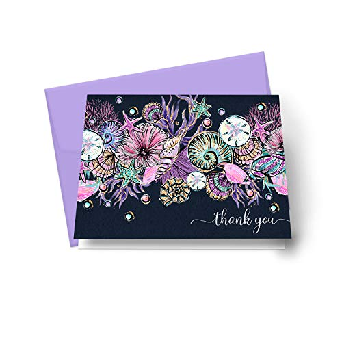 Enchanting Seashell Thank You Cards (20 Pack) Wedding – Bridal Shower – Mermaid Baby Shower - Graduation Party – Sea Flower Style - Everyday Folded Stationery Set with Purple Envelopes