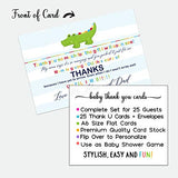 Little Gator Baby Thank You Cards (25 Pack) with Envelopes - Neutral Boy or Girl - Cute Zoo Animals - Colorful - Babies Shower Stationery Set - A6