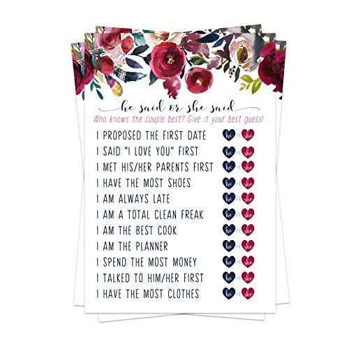 Navy Floral Bridal Shower Games (25 Pack) He Said She Said Cards - Bride or Groom Said It - Guess Who Knows Couple Best Guessing Activity - Wedding - Engagement Party - Rehearsal - Boho Rustic