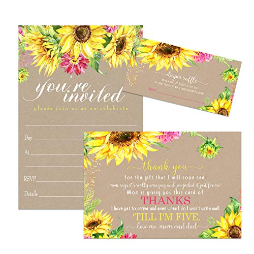 Sunflower Baby Shower Invitation Bundle (25 Guests) Includes Fill in Blank Invites - Diaper Raffle Inserts - Thank You Cards - White Envelopes - Rustic Fall Flower - Girls or Boys