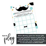 Mustache Baby Shower Bingo Game Pack (25 Cards) Guests Fill-In Blanks with Gifts Guesses - Boys Little Man Sprinkle Activity - Gender Reveal Party - Mint, Black, Gold